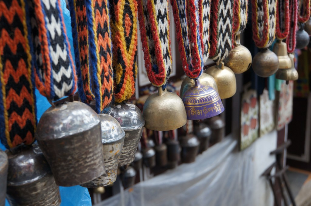 I love these yak bells, which come in a vast array of sizes, sounds, and colorful collar patterns.