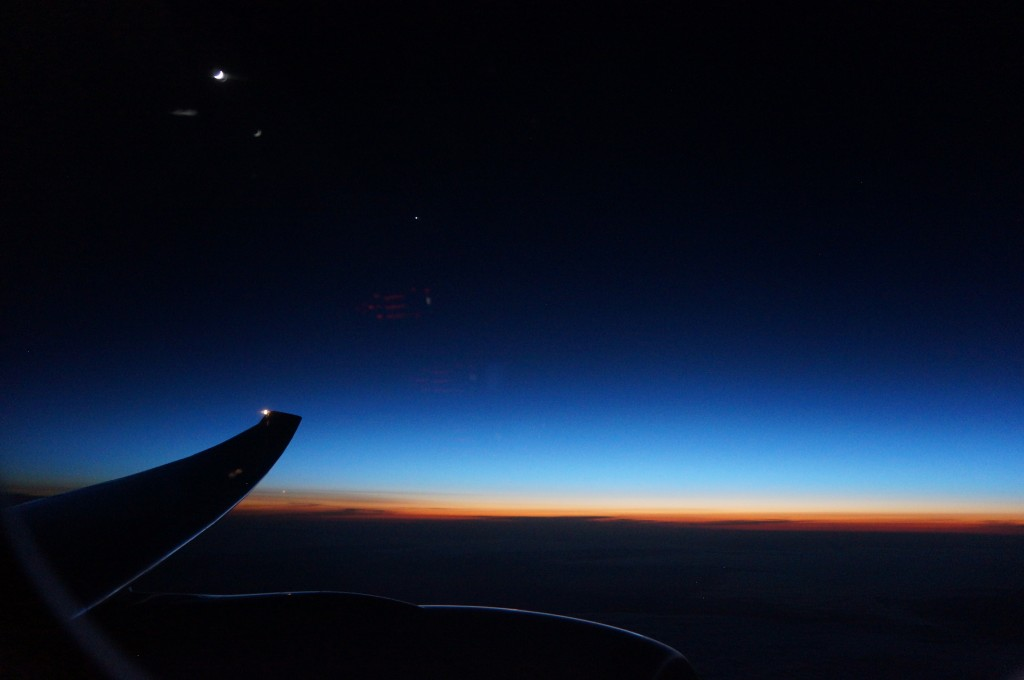 Dawn over the North Atlantic.
