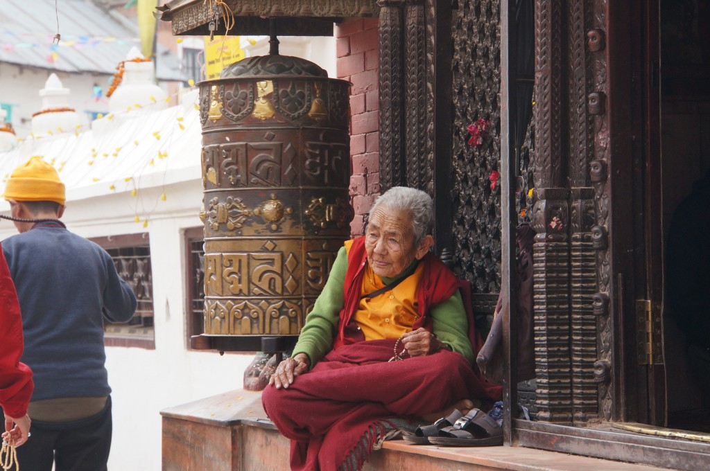 The prayer wheels are filled with holy scripture, and are meant to be spun clockwise, to help send their philosophy throughout creation.