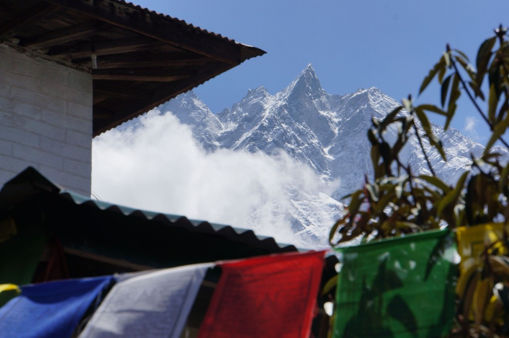 Our view from the staging area at the tea house in Lukla.