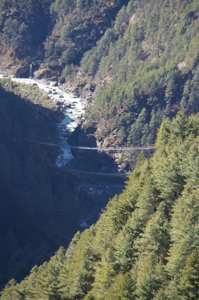 The twin bridges we crossed several days earlier, on the way up to Namche.