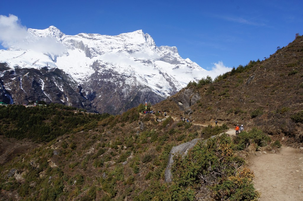 The trail to Tyangboche is easy going, and spectacular.