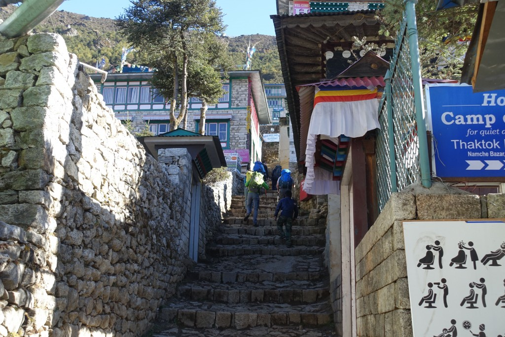 Steep stairs lead out of Namche. (Photo: Blake Penson)