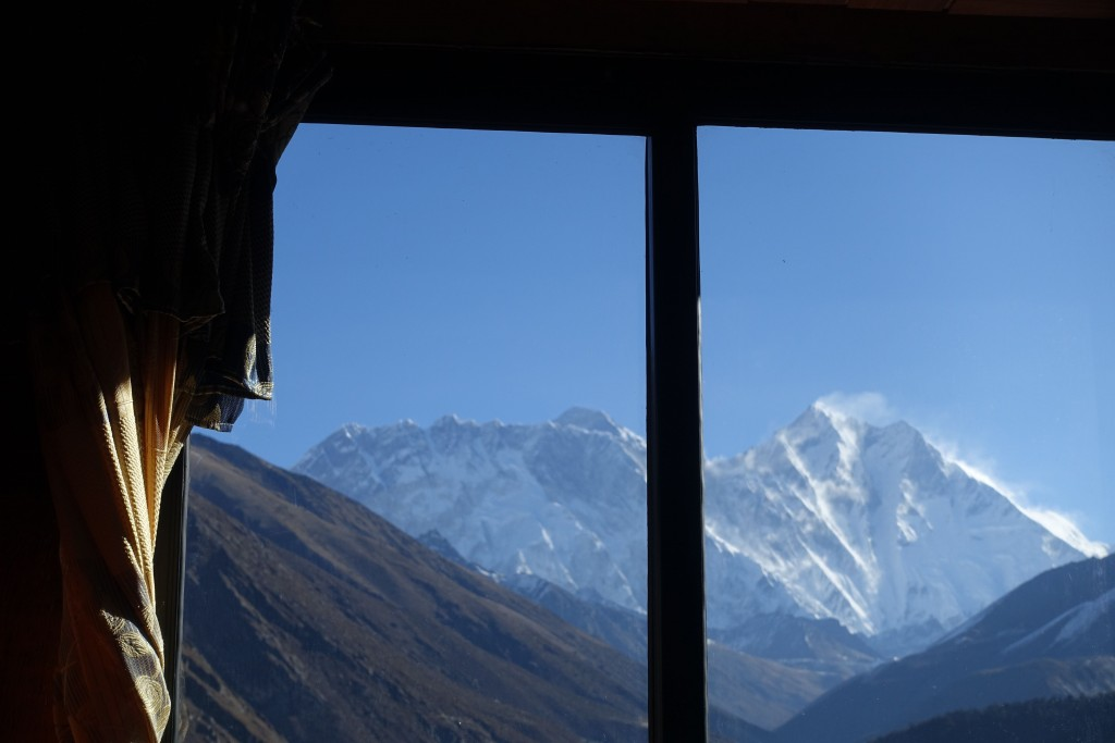 The view from our room in Tengboche. This certainly gets us motivated to get up and get out of town. (Photo: Blake Penson)