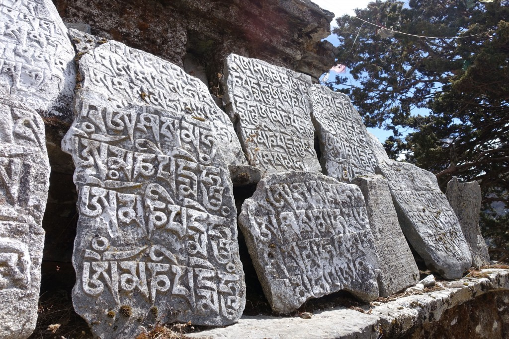 Prayer stones adorn the trail to the home of Lama Geshi in Pangboche. (Photo: Blake Penson)
