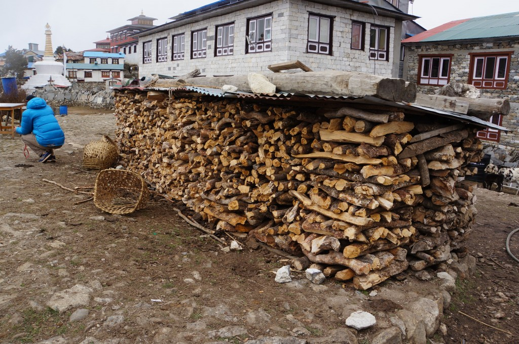 Wood is a precious commodity in the Khumbu. this tea house seems to have plenty on hand.