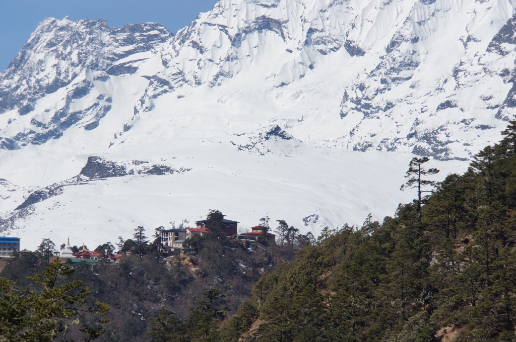 Looking back at Tengboche from the trail near Pangboche.