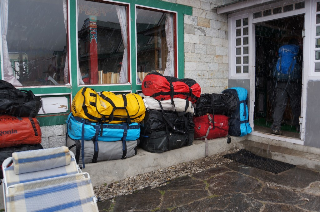 As usual, our duffels are already here. Amazing work by IMG's porters and yaks.