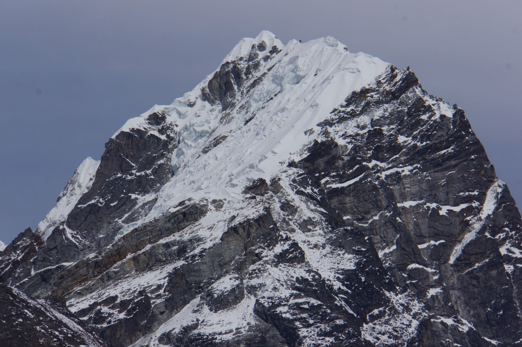 Closeup of the summit of Lobuche East... our objective will be the snow bulge on the far right of the  image, just above the granite triangle, circa 20,000 feet.
