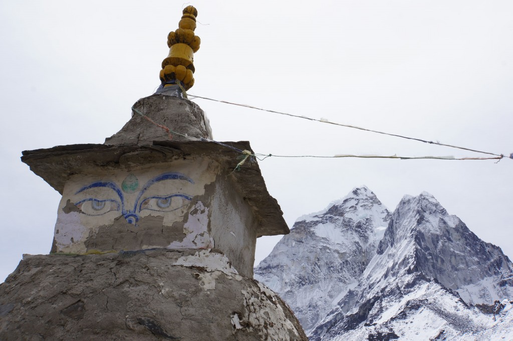 Ama Dablam, seen from an unusual angle here, behind the stupa.