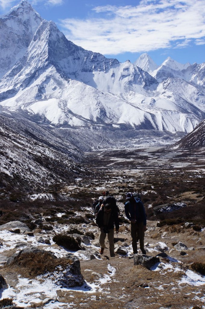 Trekking out of Pheriche.