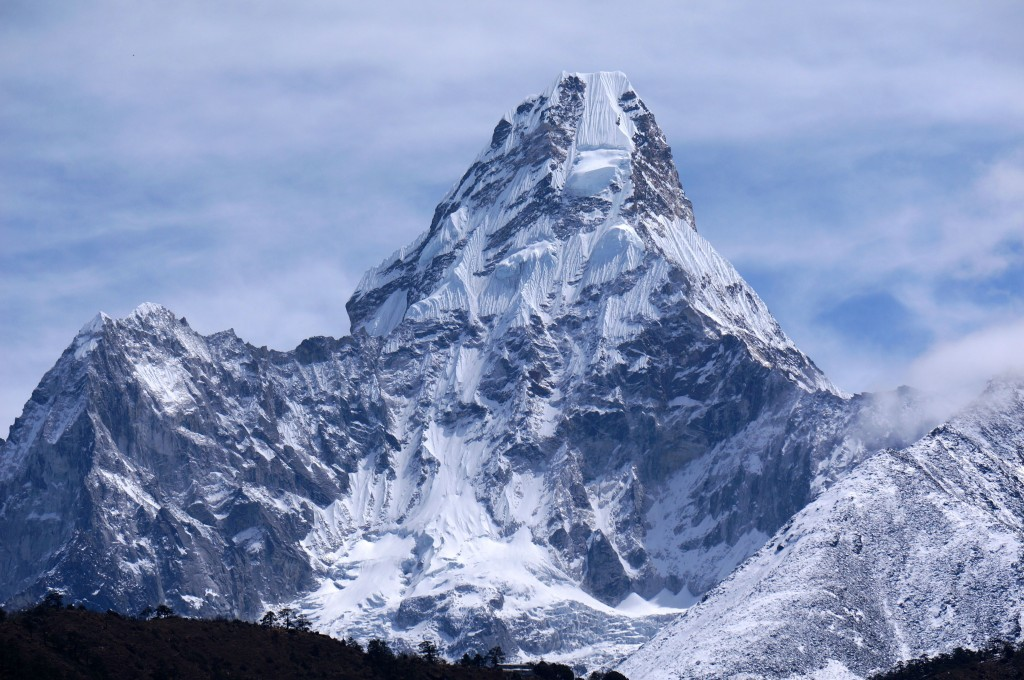 Ama Dablam. The most beautiful mountain I have seen... and very challenging to climb (the route takes climbers along the dark ridge on the right, then up to and diagonally across the hanging Dablam glacier. (Photo: Justin Merle)