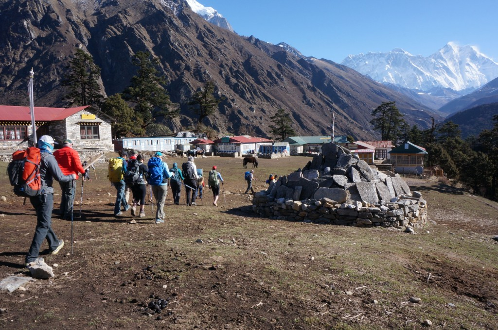 Pulling out of Tengboche. (Photo: Justin Merle)