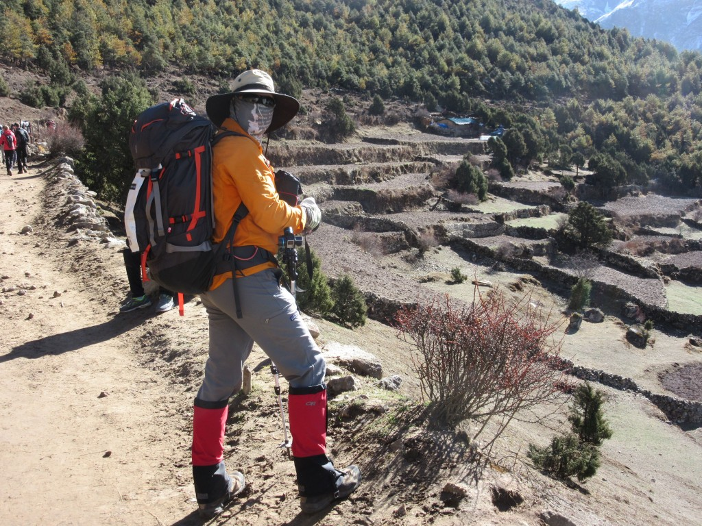 How do you like my stylish gaiters? I took 'em off at the next break... lots less yak dung and mud than anticipated.
