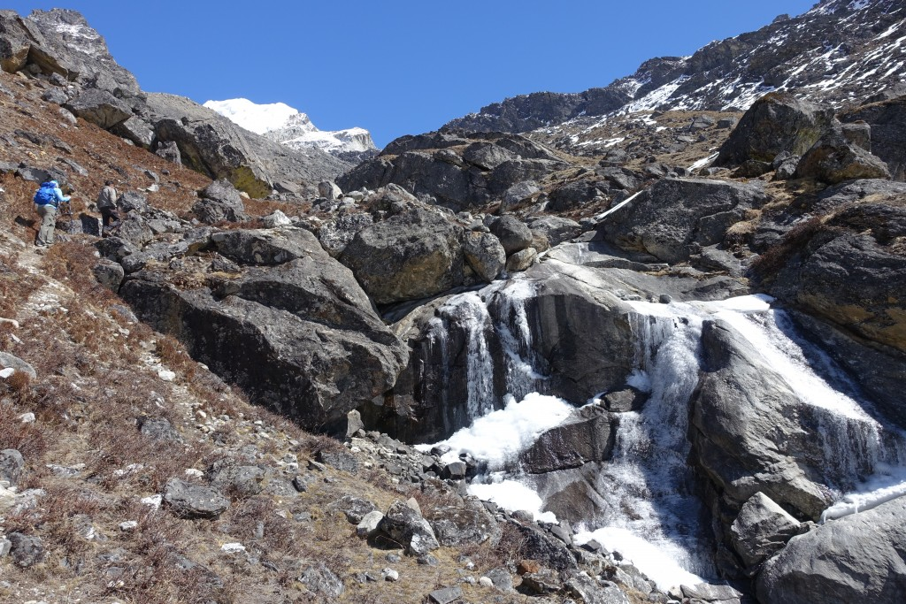 Mixed terrain, with scree and mud and yak dung and snow and ice.  Nice.  (Photo: Blake Penson)