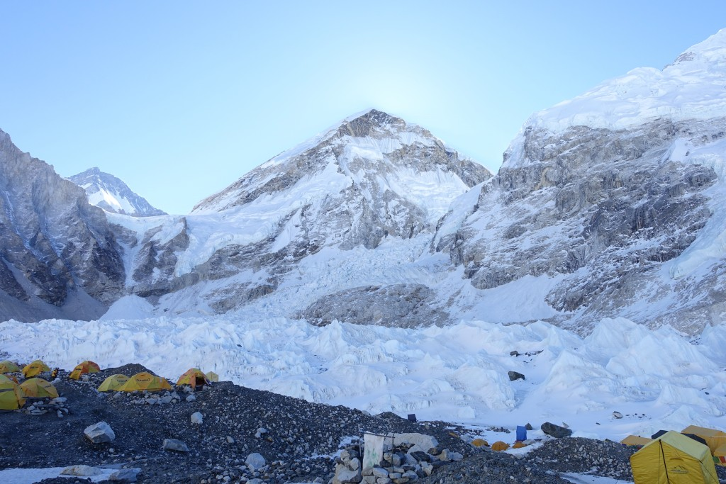 Everest, the icefall, and Nuptse are at our front door.  (Photo: Blake Penson)