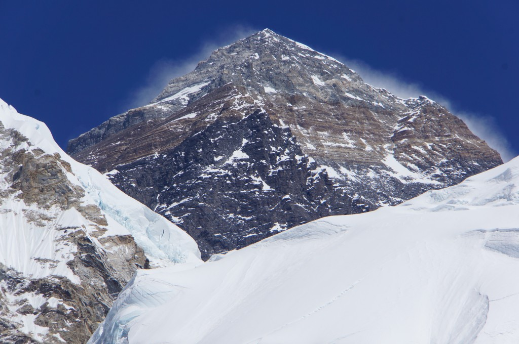 Closeup of the summit pyramid, including South Summit on right, cornice traverse, and Hillary Step.