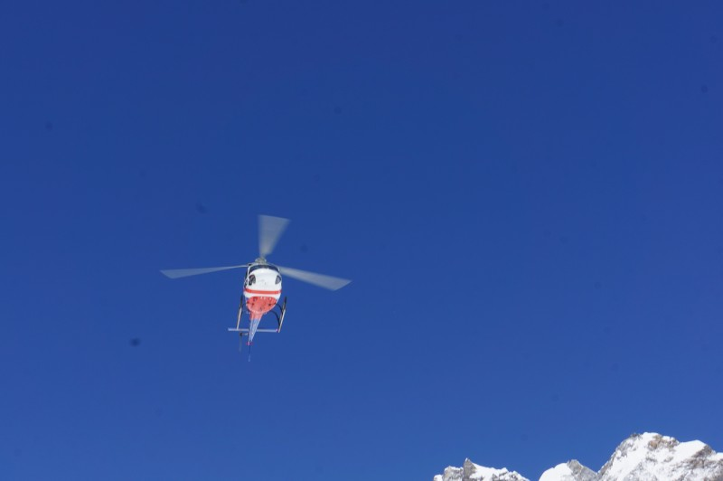 Choppers are busy overhead today, as they are on all clear days at EBC.