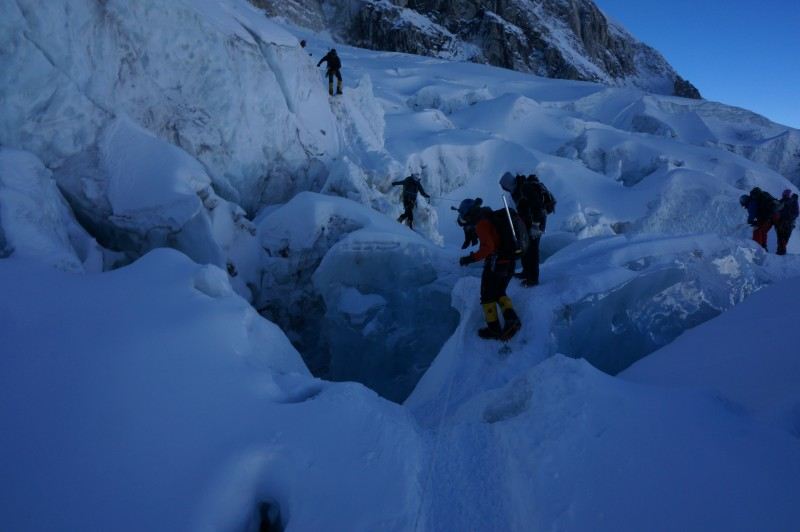 Negotiating the ice fins near the bottom of the icefall.