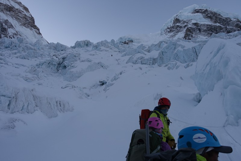 Near the start of the steep section, route above visibly more to the right than last year.  (Photo: Blake Penson)