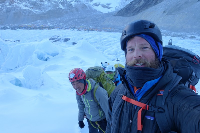 Blake and his awesome sherpa guide near the start of the icefall. (Photo: Blake Penson)