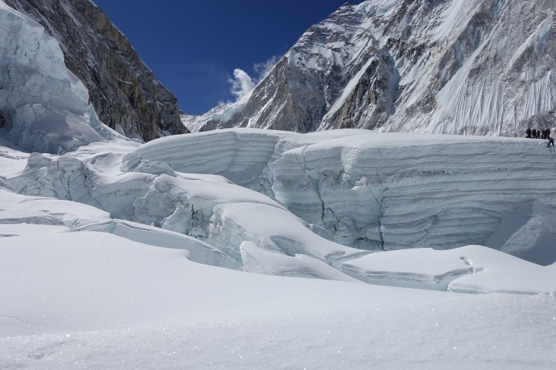Last year's route on the left, and this year's route to the right, clearly different and slower, but not exposed to the hanging ice of Everest's west shoulder. (Photo: Blake Penson)