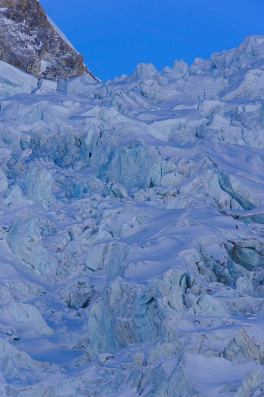 Upper icefall in telephoto... football field is on top left, just below a horizontal string of prayer flags.
