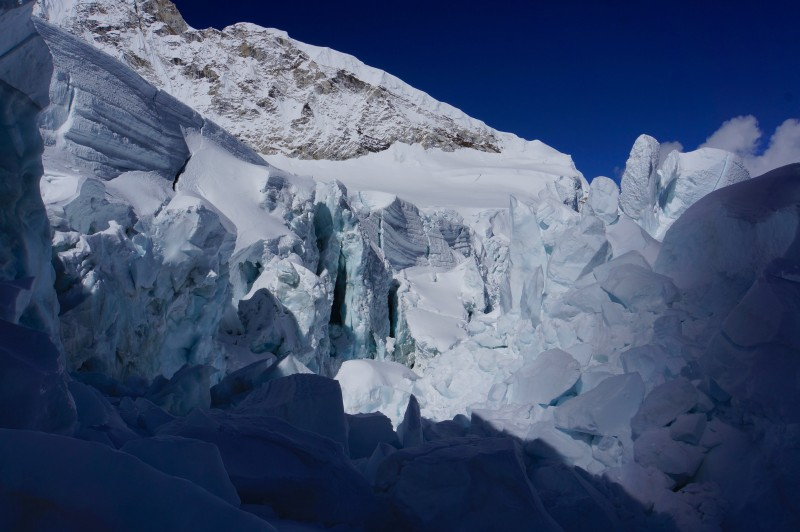 The view from the bottom of the quad ladder, looking at Nuptse.