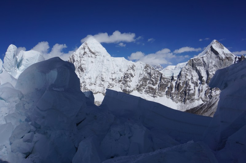 Pumori in full sunshine. The shadow of Everest is creeping out of our path, and we are about to be enveloped in sunshine.