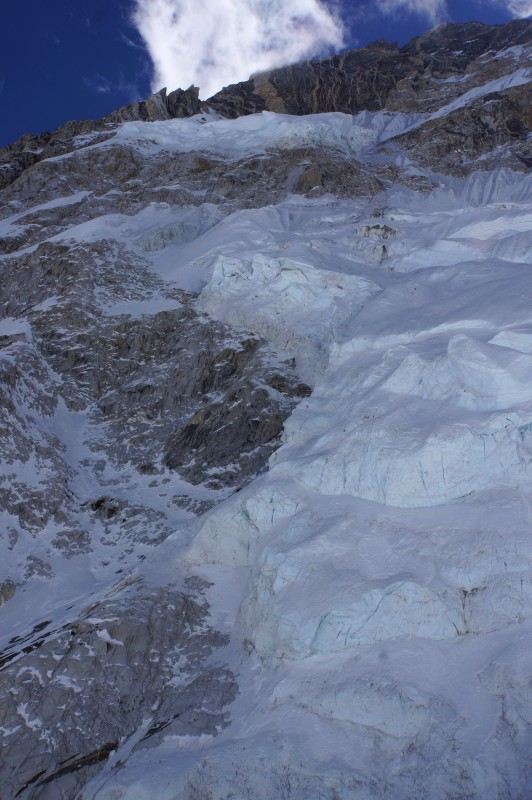 Raw, ragged edge of the hanging glacier that fell and tragically took many Sherpa lives the year before. Seen in telephoto, it was well away from our route this year.