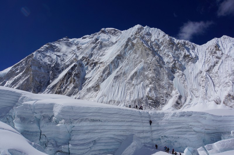 The 5-ladder section, with rappel line to its left. Nuptse watches above.