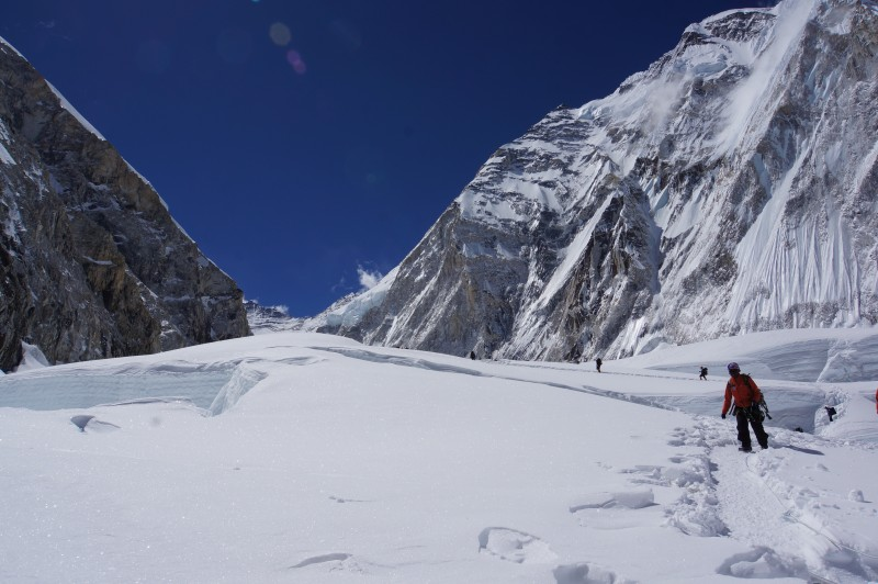 The seemingly endless, serpentine route to C1. Lhotse peeking out in the distance.