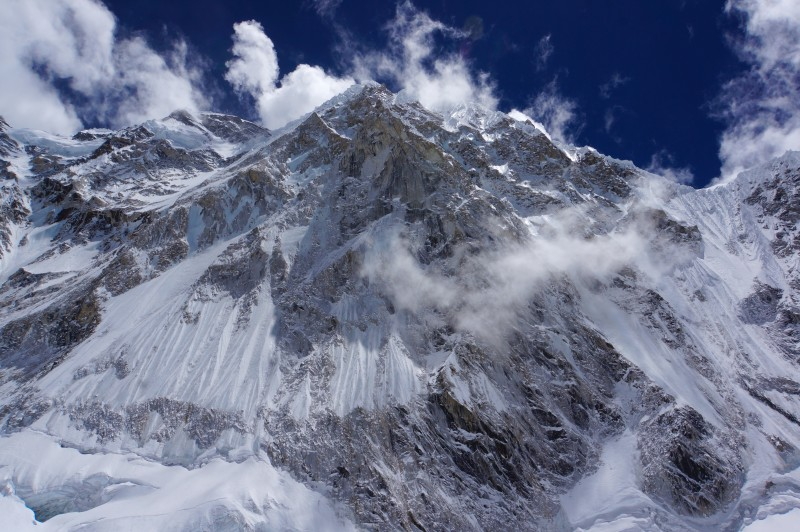 Nuptse watches above C1. Check those cornices and hanging glaciers!
