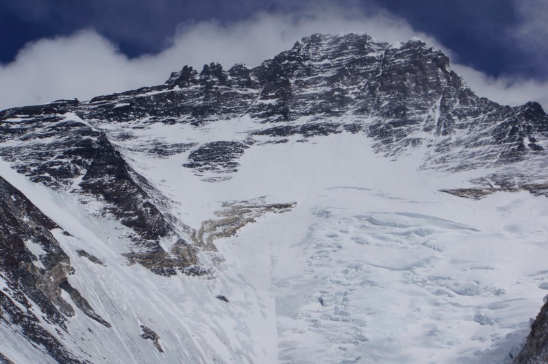 Closeup of Lhotse in telephoto... the Yellow Band is easily seen, as is the Geneva Spur on the left. Just left of that, and out of frame, lies the South Col.