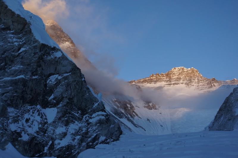 Everest and Lhotse in Alpenglow.