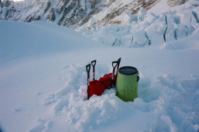 """A small cache of gear marks the """"football field,"""" our turnaround point for today.  (Photo: Justin Merle)"""