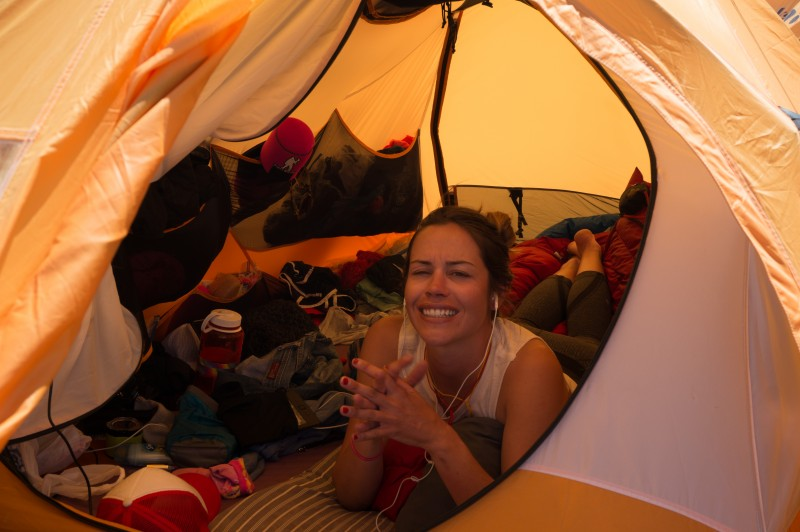 Kim savors camp apres climb.  (Photo: Justin Merle)