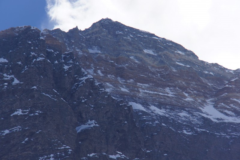 Summit in telephoto. Hillary Step is the small divot against the skyline on the right, just above the cornice traverse.
