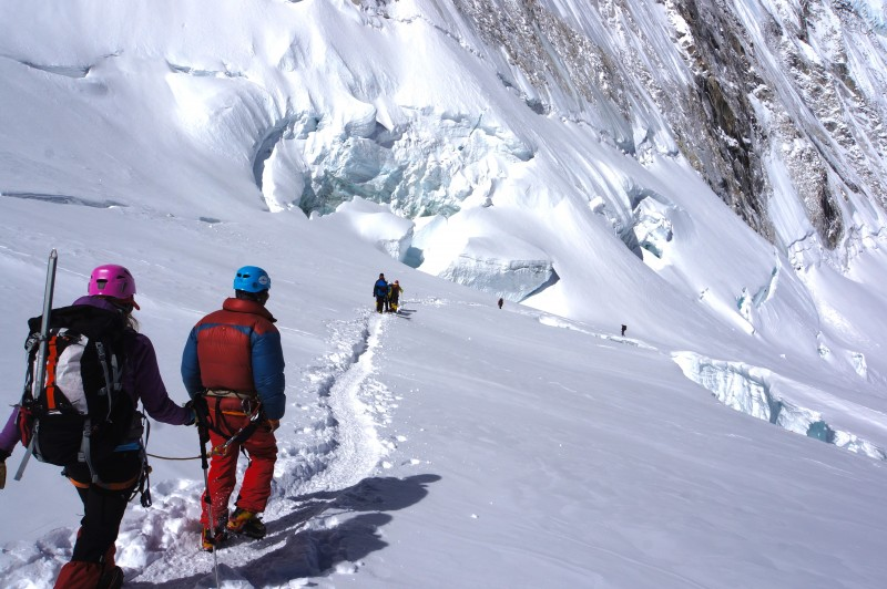 Winding our way around the crevasses.