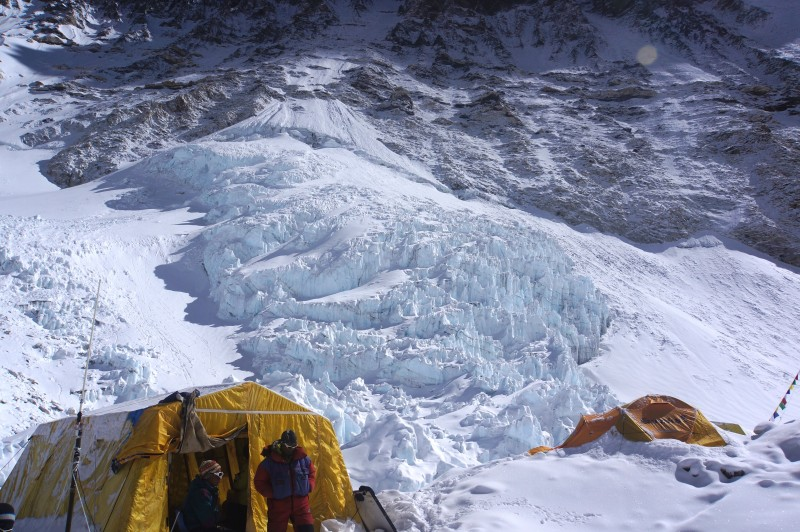 Icefall above the coms / cook tent.