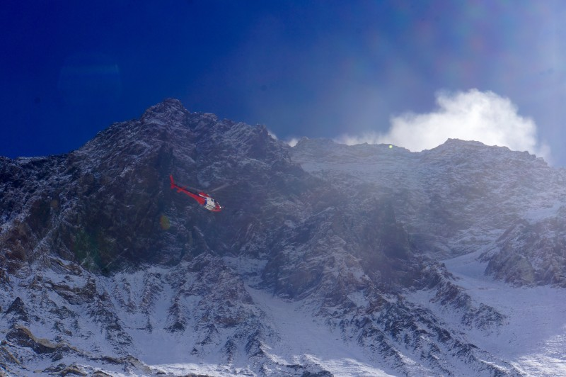 On approach to the C2 LZ, Everest towering overhead.