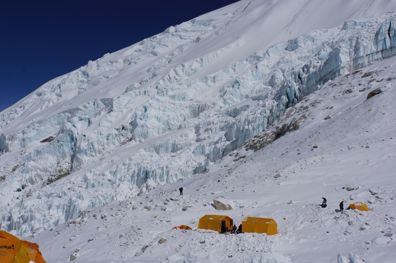 Ice cliffs above another expedition's camp. Like us, they did not seem to sustain damage in the quake.