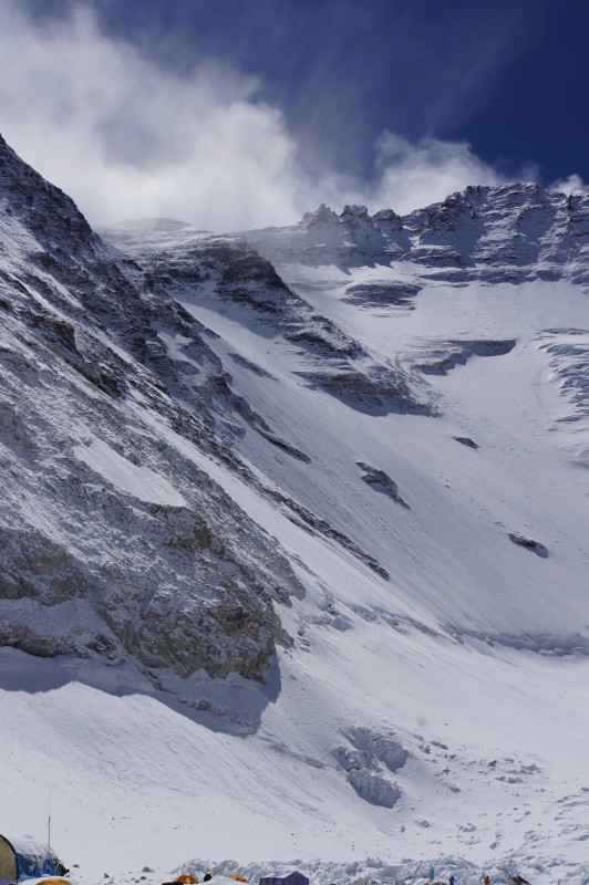 Everest, Geneva Spur, and Lhotse seen from C2.