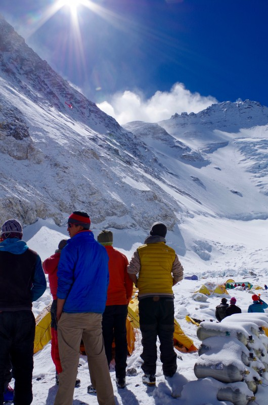 Our Sherpa teammates looking up at the route ahead. (Photo: Blake Penson)