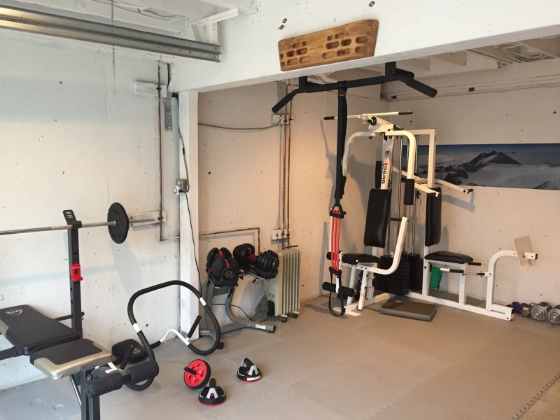 Garage reborn as a gym.