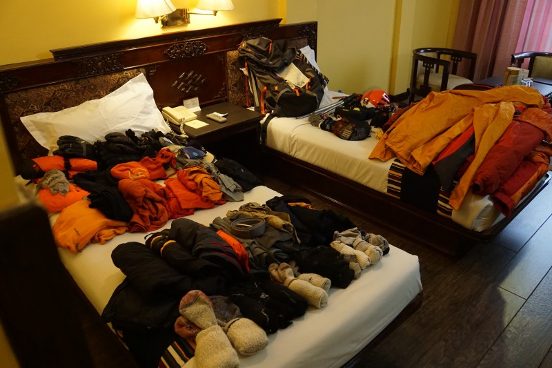 Gear check in the Hotel Tibet. This is some of it...