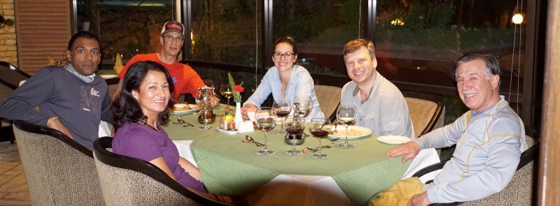 A good thing did come of the delay: DINNER! Siva, Fatima, Justin, Kim, me, and our great new friend Roger.