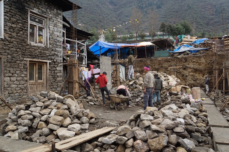 Signs of a healthy building boom in Lukla... building and rebuiliding are both evident here.