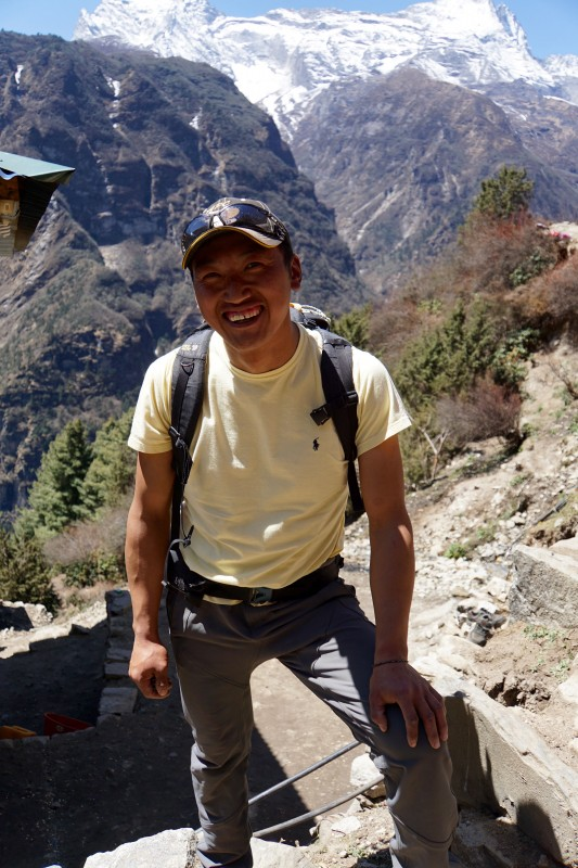 Nima Karma Sherpa, one of our amazing guides from last year, at a nice chance meeting on the trail.