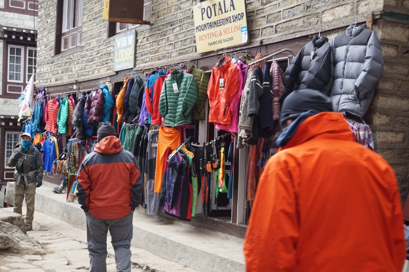 Gear for sale on the streets of Namche.